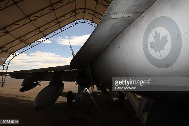 Hornet fighter jet belonging to the Canadian 410 'Couger' Squadron is seen on the tarmac at Naval Air Facility El Centro on November 4 2009 near El...