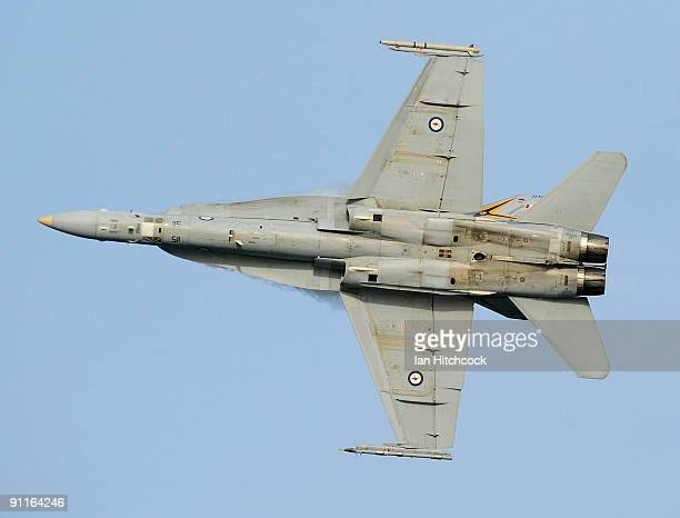 Hornet performs at the eighth annual Defence Force Air Show at The Strand on September 26 2009 in Townsville Australia Today's event culminated in a...