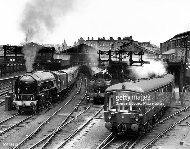 Hornet's Beauty' A2 Class steam locomotive at Leeds Central station c 1954 This locomotive No 60535 is awaiting departure at the station with an...