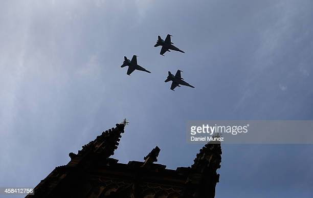 Hornets fly over St Andrew's Cathedral during the memorial service of former Australian Prime Minister Gough Whitlam at Sydney Town Hall on November...