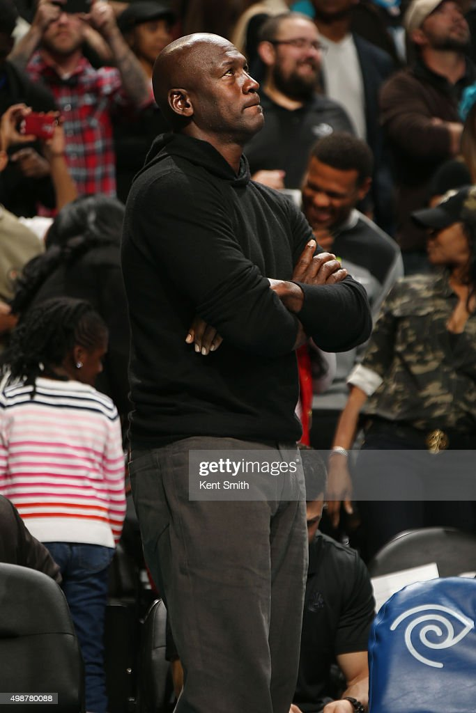 Hornets owner Michael Jordan during the game against the Washington Wizards during the game on November 25, 2015 at Time Warner Cable Arena in Charlotte, North Carolina.