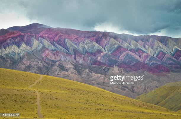 hornocal hills of 14 colors, near humahuaca in jujuy province, northwestern argentina. - radicella stock pictures, royalty-free photos & images