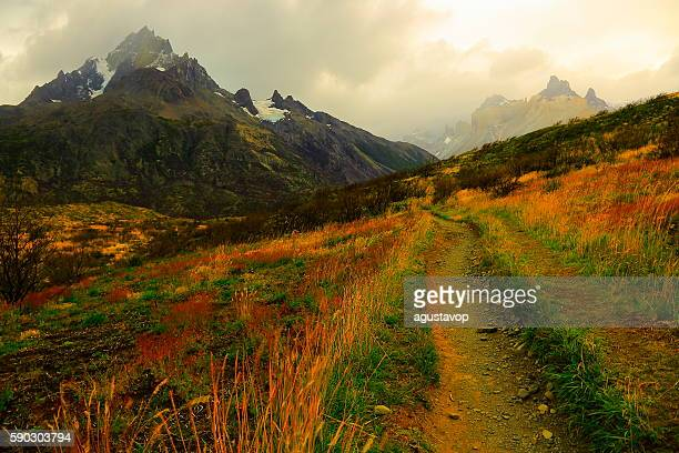 Horns of Paine dramatic sunrise, estepe trail, Torres Del Paine – Patagonia
