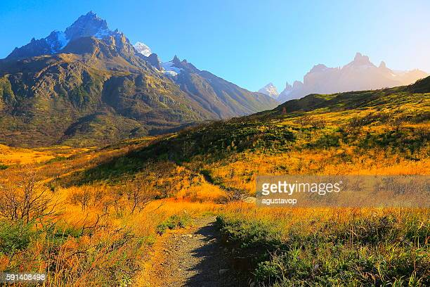 horns of paine sunrise, estepe hikking trail, torres del paine – patagonia - chile stock photos and pictures