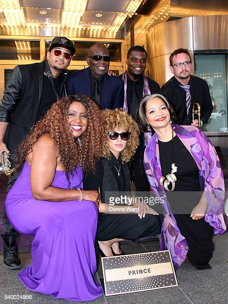 Hornz Meli'sa Morgan Andy Allo and Jonelle Procope appear during the induction ceremony for Prince to The Walk Of Fame at The Apollo Theater on June...