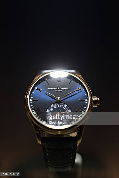 A 'Horological' luxury smartwatch produced by Frederique Constant SA sits on display at the company's booth during the 2016 Baselworld luxury watch...