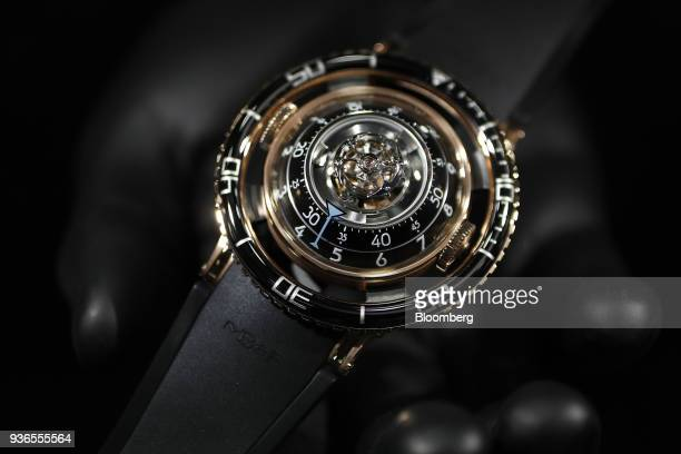 A Horological Machine No7 aka HM7 Aquapod luxury wristwatch produced by MBF stands on display during day two of the 2018 Baselworld luxury watch and...