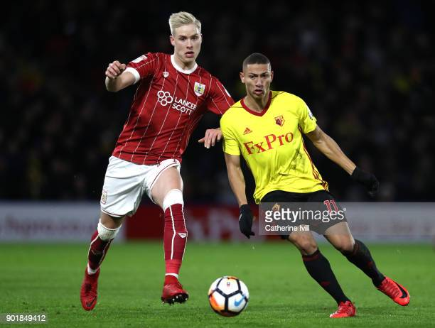Horour Magnusson of Bristol City and Richarlison de Andrade of Watford during The Emirates FA Cup Third Round match between Watford and Bristol City...