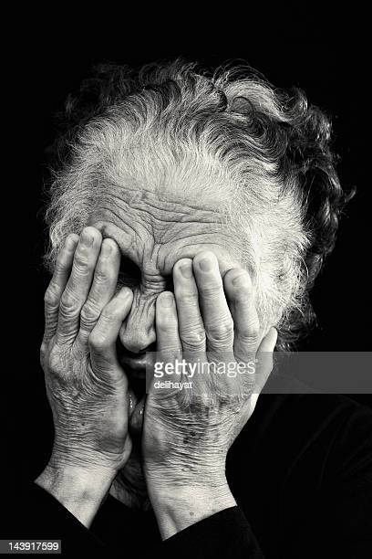 horrified - old ugly woman stock photos and pictures