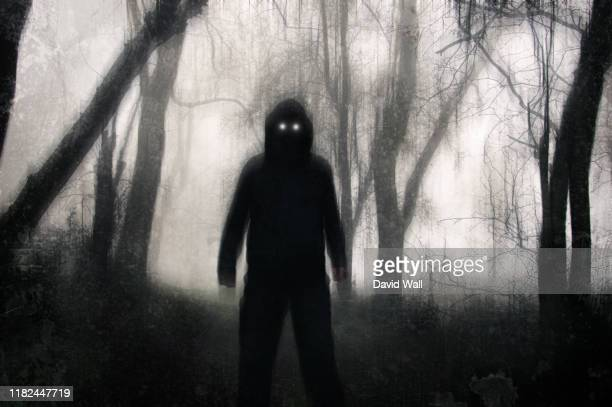 a horror concept. a silhouetted hooded figure, standing in a winter forest, with glowing scary eyes. with a grunge, texture, blurred edit - magic eye stock pictures, royalty-free photos & images
