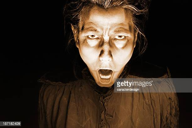 horror face - old ugly woman stock photos and pictures