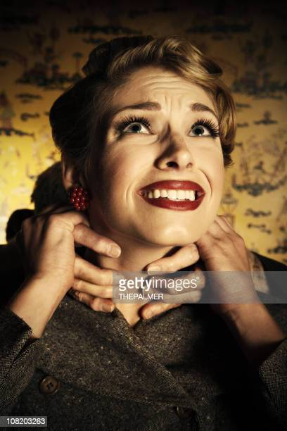 horror movie - women being strangled stock photos and pictures