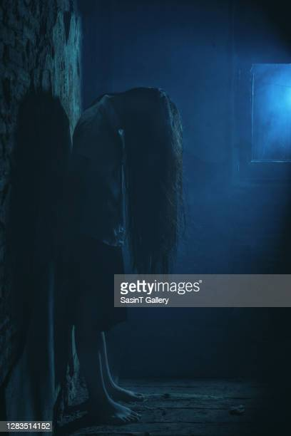 horror style scene, alone girl in creepy house - non urban scene stock pictures, royalty-free photos & images