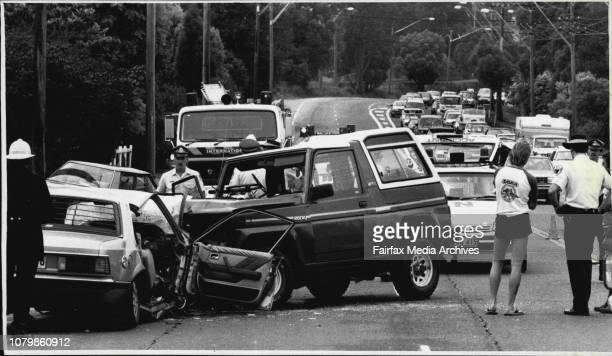Horror three car smash of Pacific Hwy Mt Coolah this morningTraffic leaving City stretched for miles bumper to bumper third car in background in...