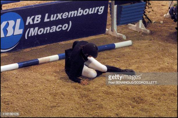 Horse accident of Athina Onassis Roussel during the Jumping of Monaco in Monaco City Monaco on April 26 2001