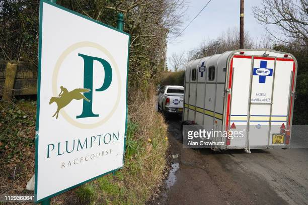 A horse ambulance makes its way to the track due to Equine Influenza there has been no racing for six days at Plumpton Racecourse on February 13 2019...