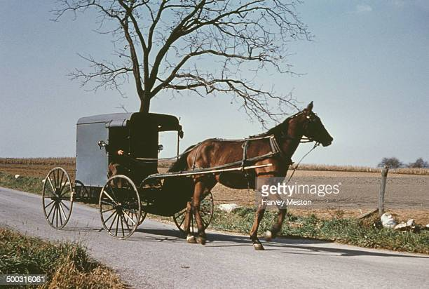 A horse and buggy belonging to the Amish community on the road in Lancaster County Pennysylvania USA circa 1960