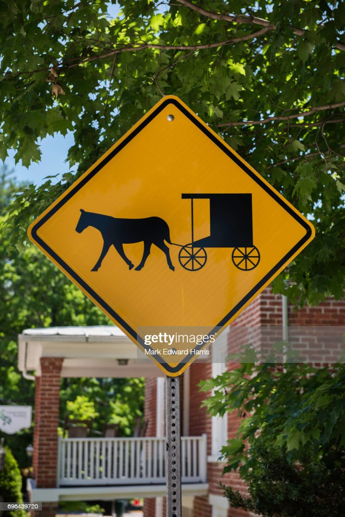 Horse and Buggy Crossing Sign, Lexington, Virginia : Stock Photo