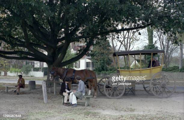 Horse and buggy in Colonial Williamsburg in Williamsburg, Virginia on November 1, 1981.