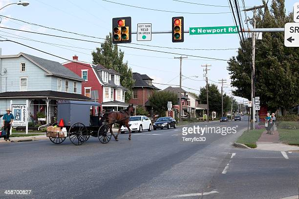 horse and buggy in intercourse, pa - terryfic3d stock pictures, royalty-free photos & images