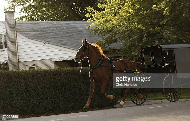 A horse and buggy ride down the road October 5 2006 in Bart Township Pennsylvania Funerals for four of the five girls killed by a gunman on October 2...
