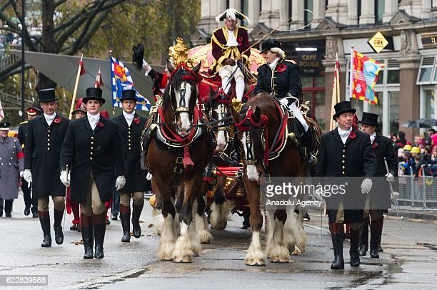 Horse and carriages pass St Paul's Cathedral at Lord Mayor's Show in London United Kingdom on November 12 2016 Since 1215 every newly elected Lord...