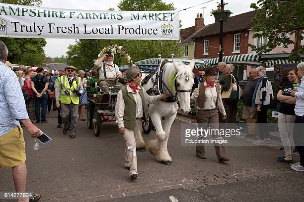 A Horse And Cart Delivers Fresh Watercress To the Annual Alresford Watercress Festival Earlier Today In This Hampshire Market Town Picture Peter...