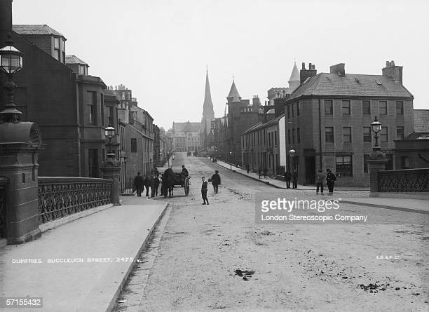 Horse and cart on Buccleugh Street in Dumfries, circa 1910.