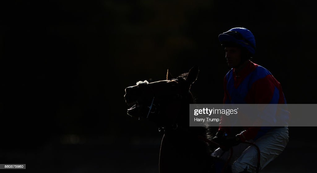 A Horse and Jockey make their way to the start during the Great Point Media Beginners' Chase at Exeter Racecourse on October 12, 2017 in Exeter, England.