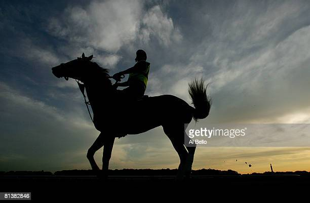 A horse and Jockey work out on the track at sunrise at Belmont Park Race Track on June 3 2008 in Elmont New York