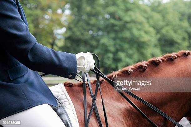 horse and rider in dressage event - dressage stock pictures, royalty-free photos & images