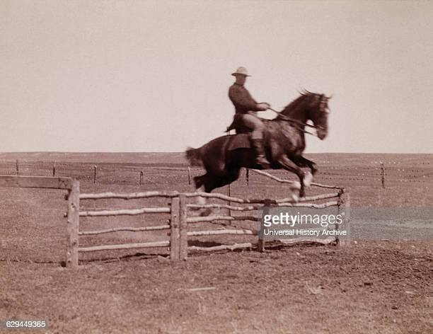 Horse and Rider Jumping Corral Fence circa 1910
