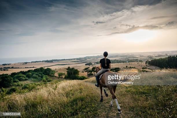 caballo y jinete montando apagado en la puesta de sol sobre møn en dinamarca. - selandia fotografías e imágenes de stock