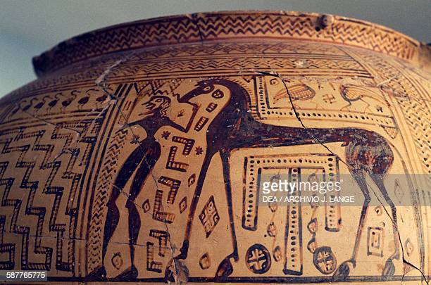Horse and squire detail from an Argive krater with geometric decorations Geometric style pottery diameter 50 cm Greek civilisation 8th century BC...