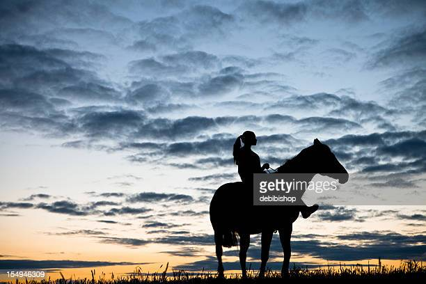 Horse And Woman At Sunset