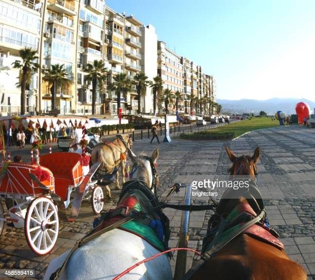 horse carriage in izmir - izmir stock pictures, royalty-free photos & images