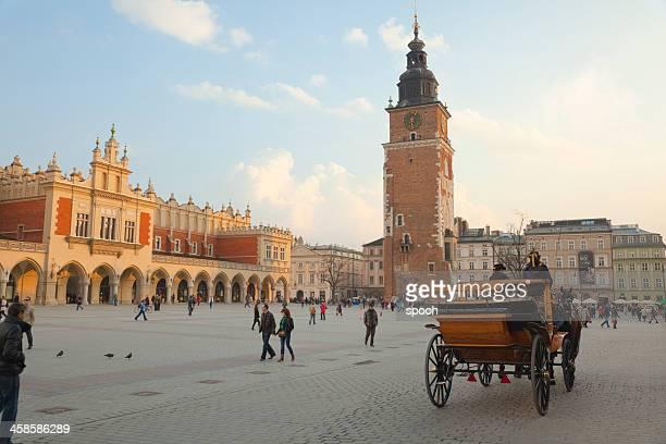 Horse carriage on Krakow Main Market Square (Poland)