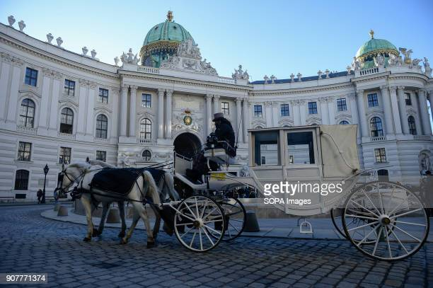 A horse carriage passes by Hofburg Palace in Vienna