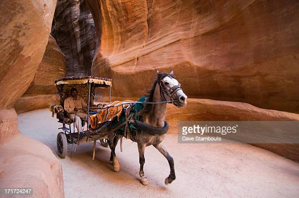 CONTENT] horse carriage rides through the Siq canyon in Petra the UNESCO World Heritage Site in Jordan