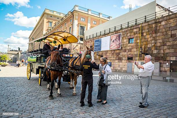 Horse carriage waiting for tourists in Stockholm, Sweden