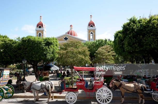 Horse carriages near Central Park in Granada, Nicaragua
