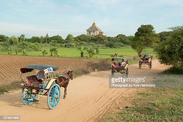 Horse Carts at Bagan in Burma (Myanmar)