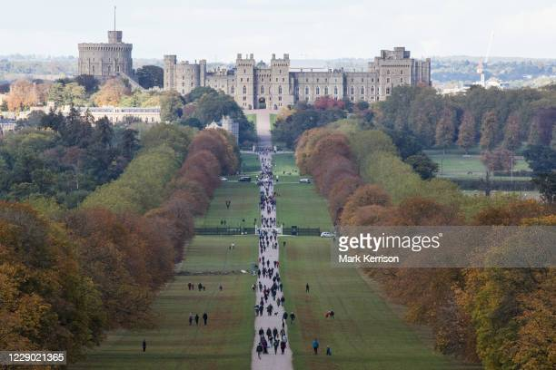 Horse chestnut trees lining the Long Walk in front of Windsor Castle display early autumn colours on 11 October 2020 in Windsor, United Kingdom....