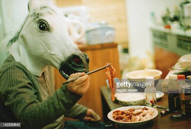 Horse consumes