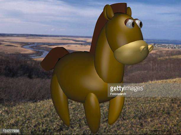 horse, cute, cartoon, 3D, animal