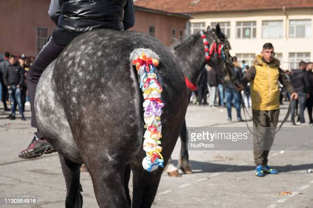 A horse decorated with ribbons seen during Horse Easter celebrations in the Fakulteta neighborhood of Sofia March 16 2019 which is celebrated on St...