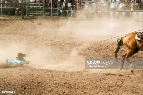 horse dragging cowboy by rope in rodeo - estadio de los cowboys - fotografias e filmes do acervo