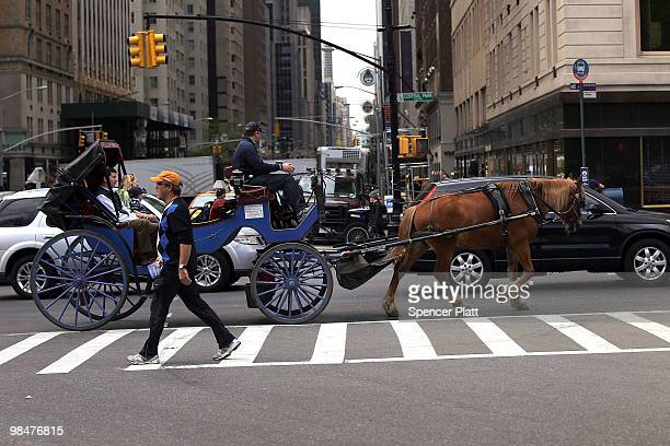 A horse drawn carriage moves down the street outside of Central Park on April 15 2010 in New York New York A new law that passed the New York City...