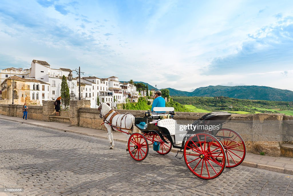 Horse drawn carriage on Puerto Nuveo in Ronda : Stock Photo