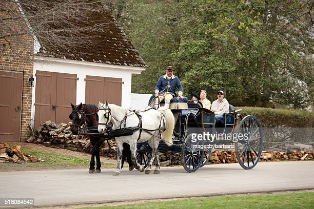 horse drawn carriage - colonial williamsburg stock photos and pictures